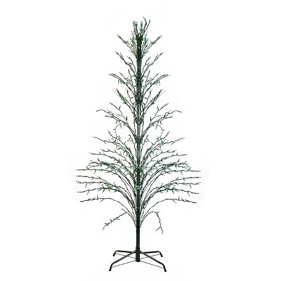 Northlight 4' Prelit Artificial Christmas Tree White Lighted Cascade Twig Outdoor Decoration - Green Lights