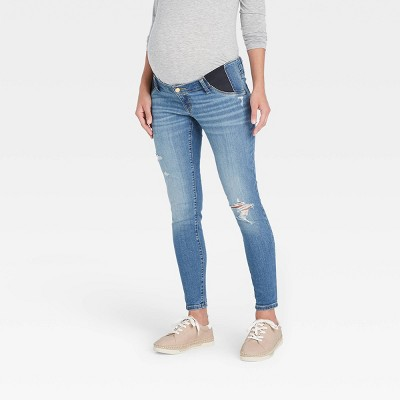 Mid-Rise Under Belly Distressed Skinny Maternity Jeans - Isabel Maternity by Ingrid & Isabel™ Medium Blue
