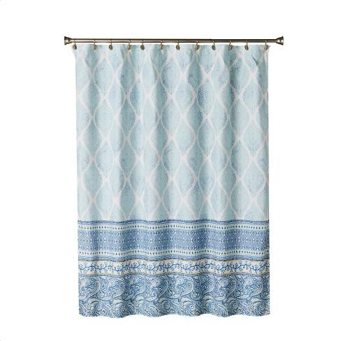 Boho Paisley Fabric Shower Curtain Bright Blue