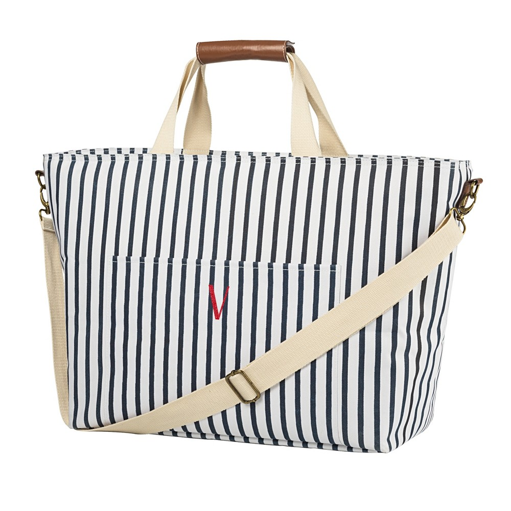Cathy's Concepts Striped Cooler Tote - V, Blue White