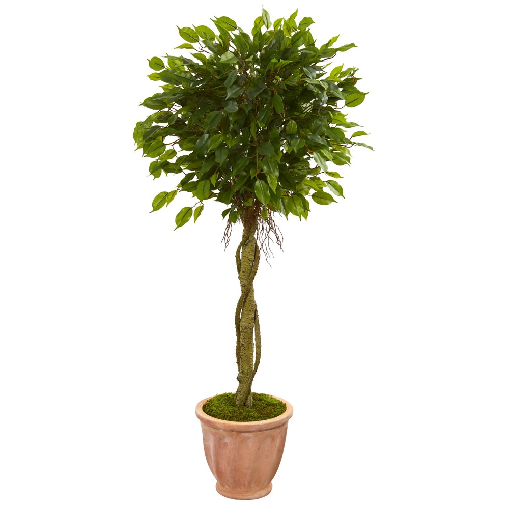 4.5ft Ficus Artificial Tree In Terracotta Planter - Nearly Natural, Green