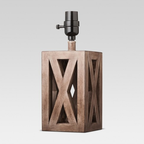 Washed Wood Box Small Lamp Base Brown - Threshold™ - image 1 of 2