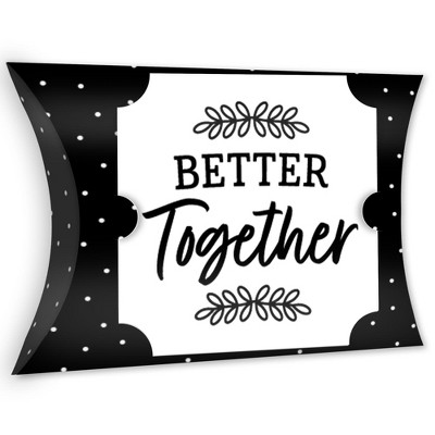 Big Dot of Happiness Mr. and Mrs. - Favor Gift Boxes - Black and White Wedding or Bridal Shower Large Pillow Boxes - Set of 12