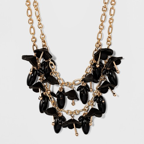 Simulated Leather Flowers and Beading Necklace - A New Day™ Black - image 1 of 3
