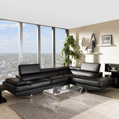 Selma Leather Modern Sectional Sofa Black - Baxton Studio