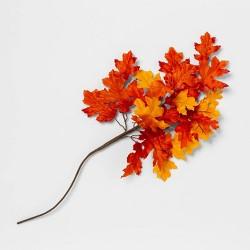 "28"" Artificial Oak Leaves Stem Orange/Yellow - Threshold™"