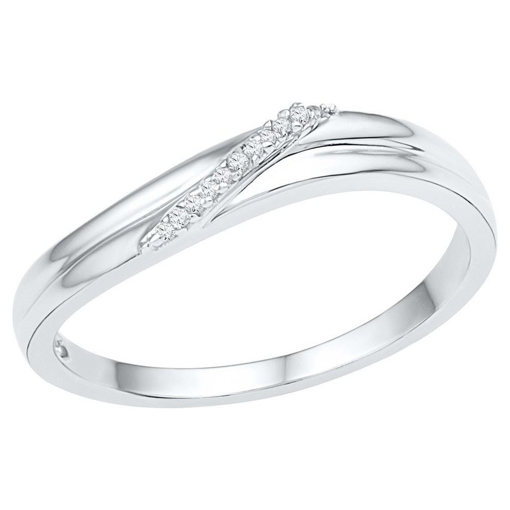 1/20 CT. T.W. Round Diamond Prong Set Fashion Ring in Sterling Silver (4.5), Girl's, White