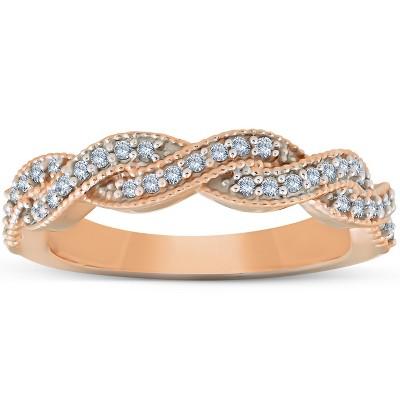 Pompeii3 1/3 Ct Diamond Infinity Womens Wedding Anniversary Ring 14k Rose Gold Band