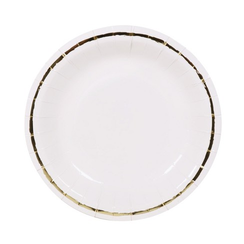 10ct Deep Dish Large Snack Plates White/Gold - Spritz™ - image 1 of 2
