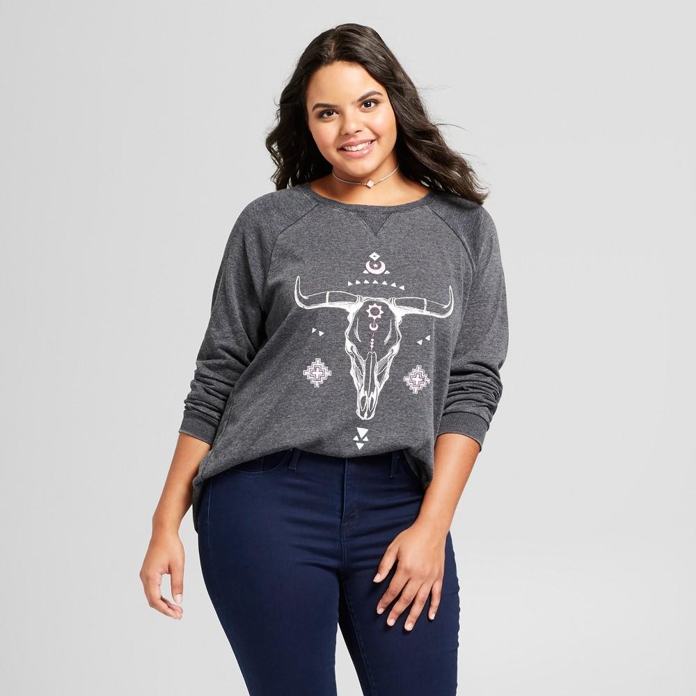 Image of Women's Plus Size Cow Skull Graphic Sweatshirt - Grayson Threads (Juniors') - Gray 2X