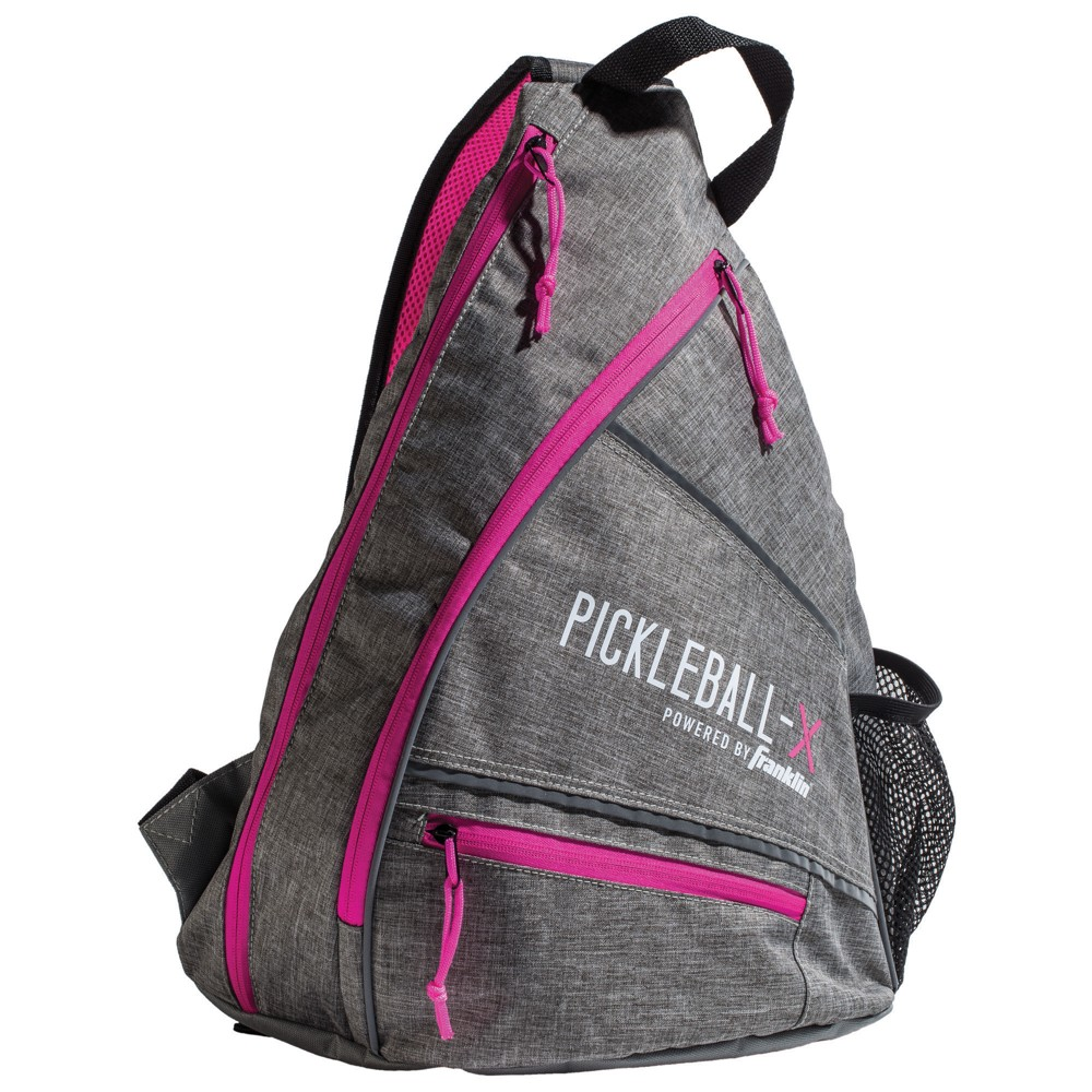 Franklin Sports Pickleball-X Elite Performance Official Sling Bag of the US Open - Gray/Pink