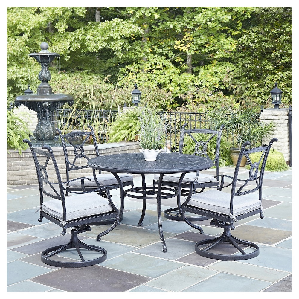 Home Style Athens 5 - Piece 48 Patio Dining Set - Charcoal (Grey) Finish