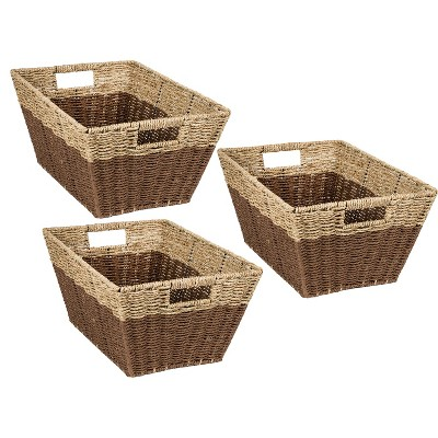 Honey-Can-Do 3pc Nested Rectangle Baskets Brown