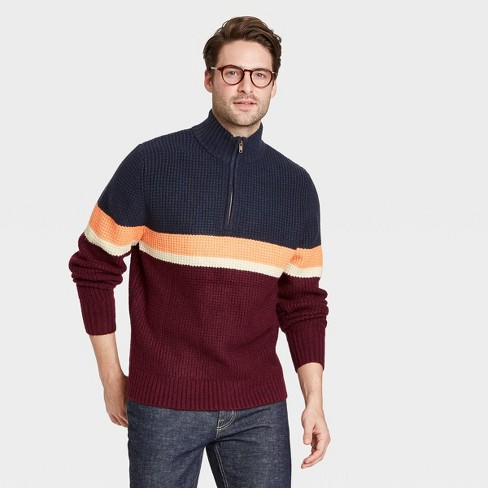 Men's Regular Fit Zip-Up Crewneck Striped Pullover Sweater - Goodfellow & Co™ - image 1 of 3