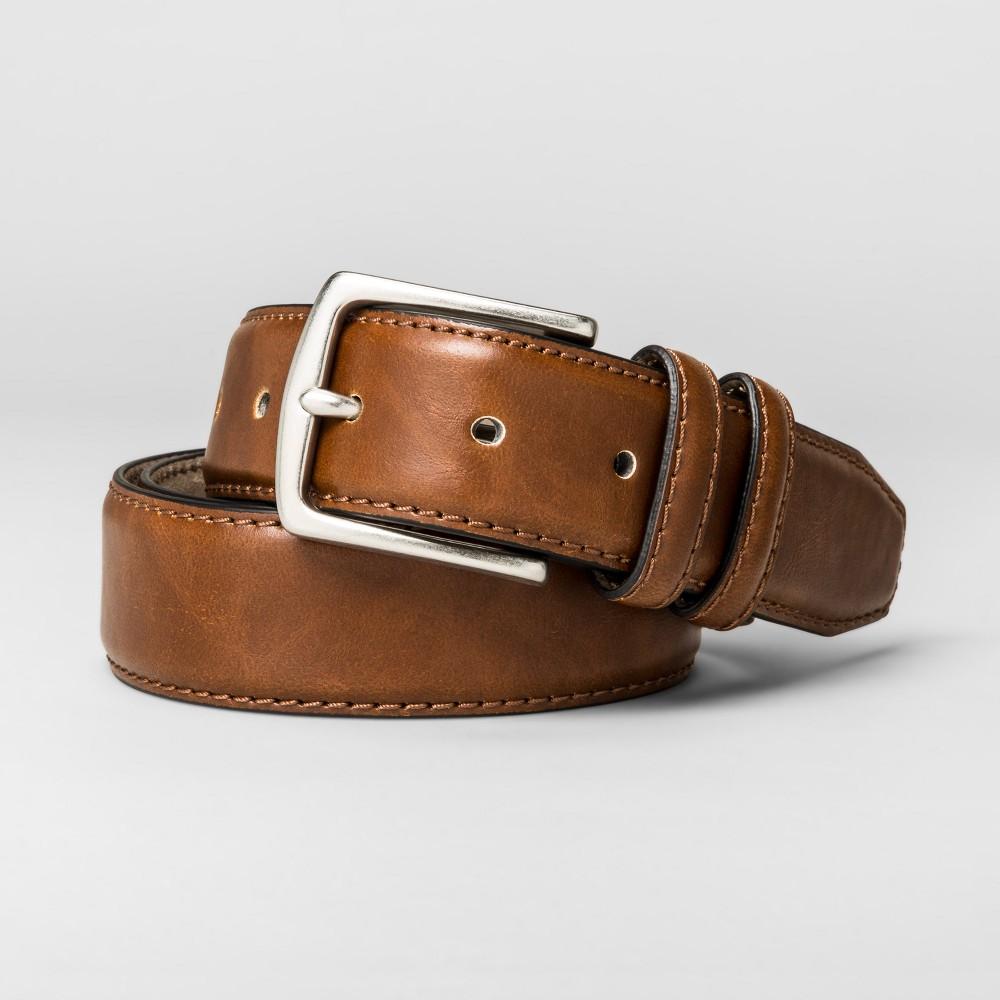 Men's 30mm Stitched Edge Reversible Belt - Goodfellow & Co - Brown L