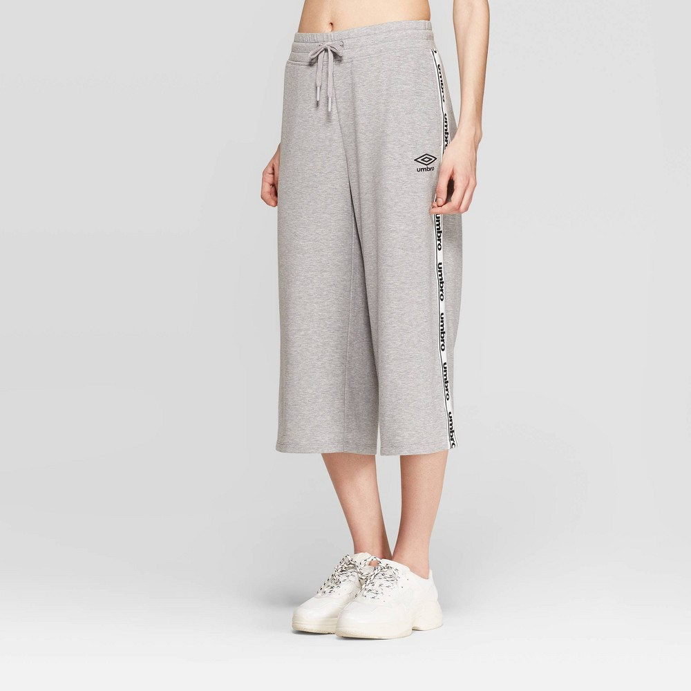 Umbro Women's Wide Leg Crop Pants - Gray Heather M, Mid Grey
