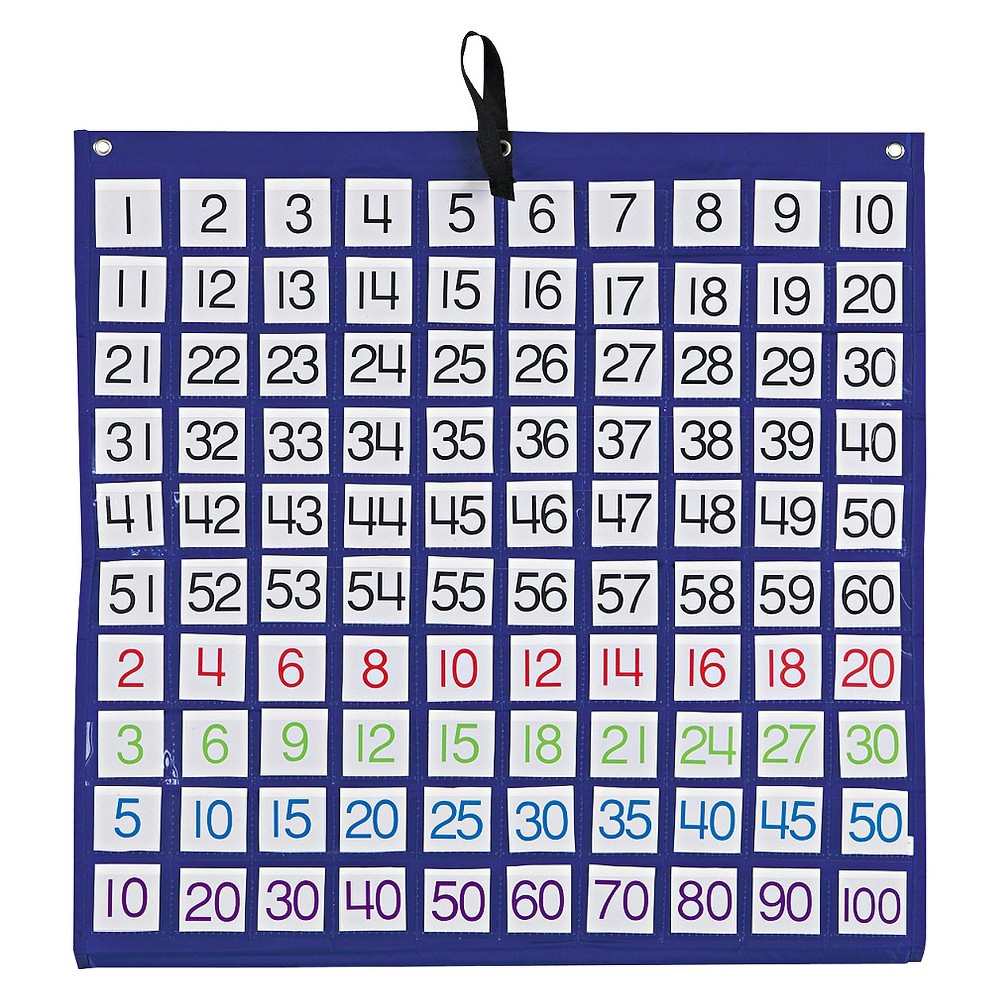 Carson-Dellosa Publishing Hundreds Pocket Chart with 100 Clear Pockets, Colored Number Cards, 26 x 26, Blue