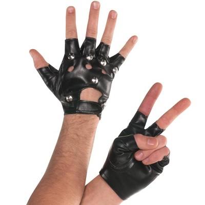Adult Fingerless Studded Gloves Accessory Halloween Costume