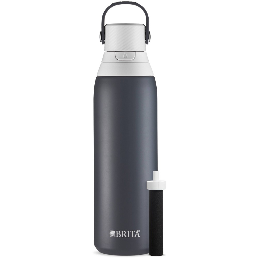 Image of Brita 20oz Premium Double-Wall Stainless Steel Insulated Filtered Water Bottle - Gray