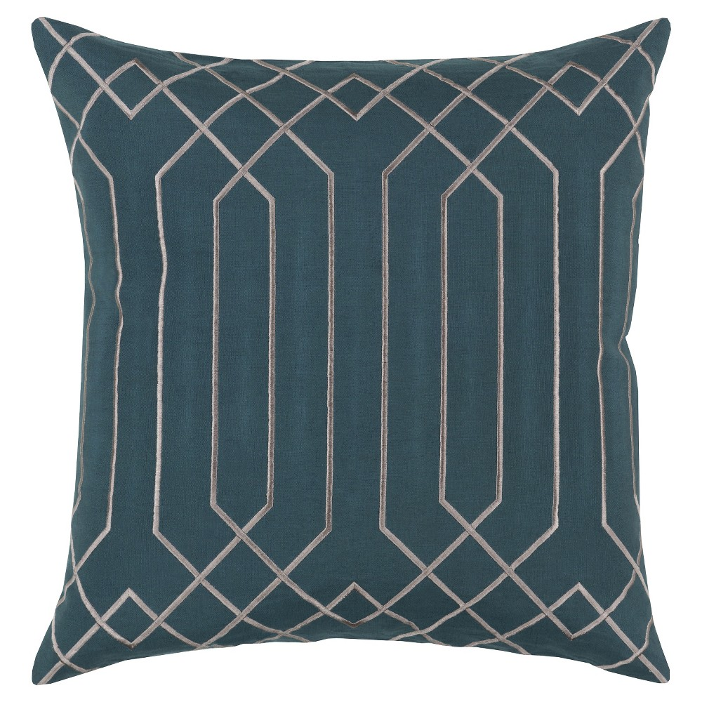Teal (Blue) Geometric Lines Throw Pillow 20
