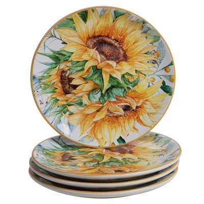 "9"" 4pk Earthenware Sunflower Fields Salad Plates - Certified International"