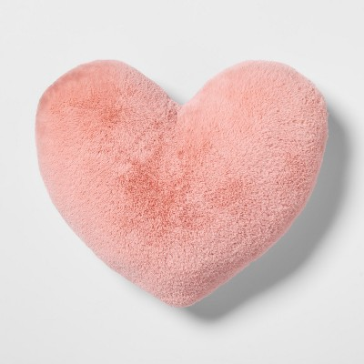 Heart Faux Fur & Velvet Throw Pillow Pink - Pillowfort™