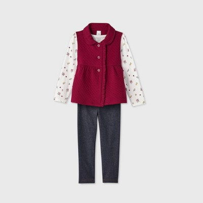 Toddler Girls' 3pc Floral Top and Leggings Set - Just One You® made by carter's Maroon 4T