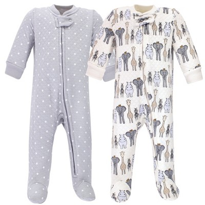 Hudson Baby Infant Boy Premium Quilted Zipper Sleep and Play 2pk, Royal Safari