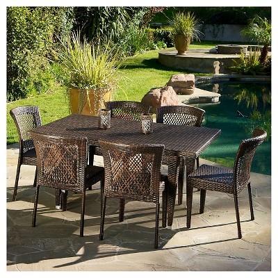 Dusk 7pc Wicker Dining Set - Multi-brown - Christopher Knight Home