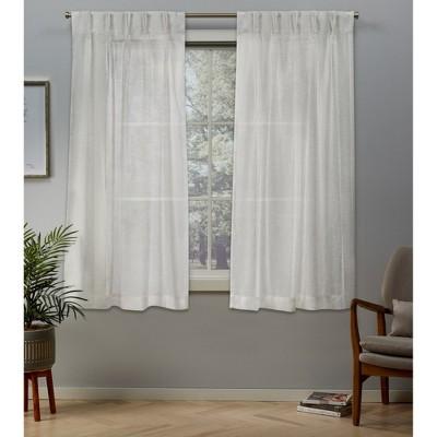 "54 X 84"" 5"" Belgian Pinch Pleats Sheer Window Curtain Panel Snowflake - Exclusive Home"