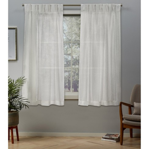 "Belgian 5"" Pinch Pleated Sheer Window Curtain Panels - Exclusive Home - image 1 of 4"