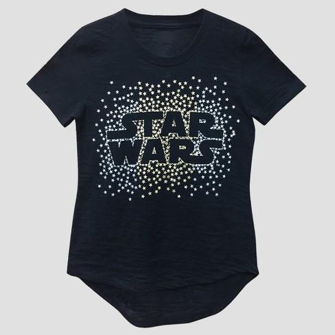37d917aaf Girls  Star Wars Burnout Short Sleeve T-shirt - Black   Target