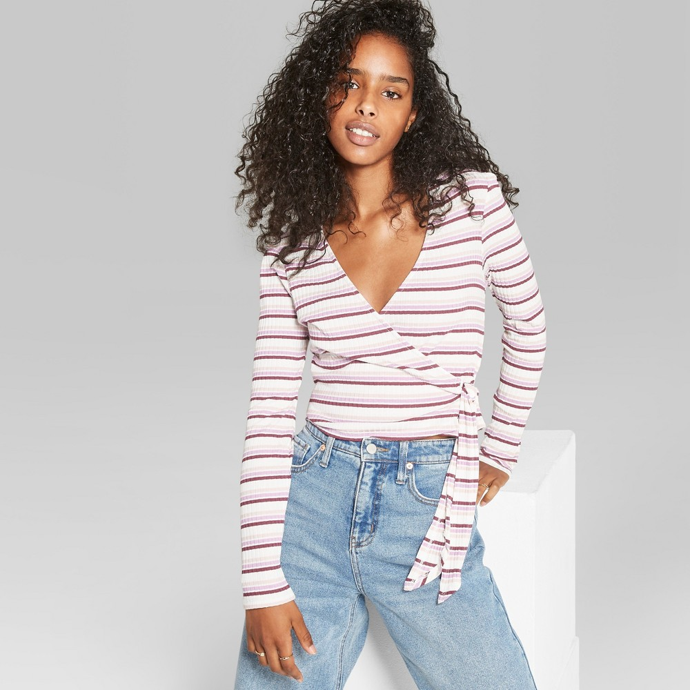 Women's Striped Long Sleeve Faux Wrap V-Neck Top - Wild Fable L, Multicolored
