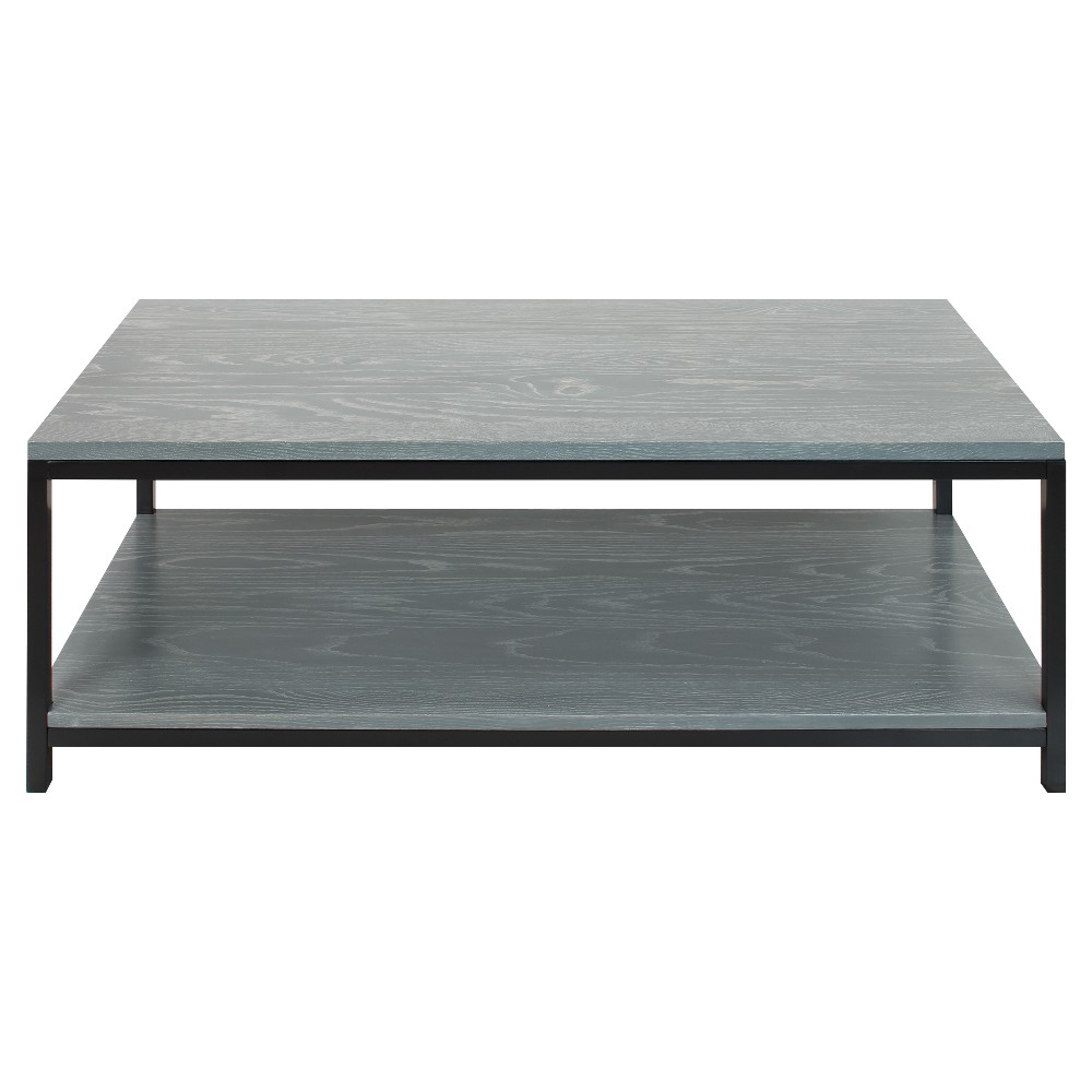 Coffee Table - Solid Red Oak Top & Shelf - Gray Wash - Flora Home