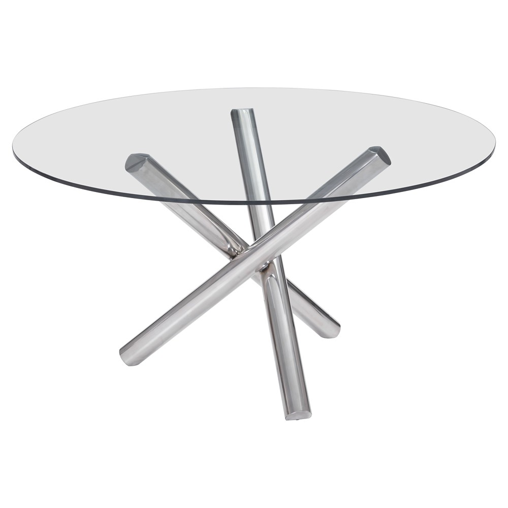 Modern 54 Round Tempered Glass and Chrome (Grey) Stainless Steel Dining Table - ZM Home