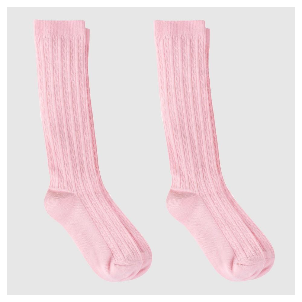 Girls' Casual Socks - Cat & Jack 2pk Pink L