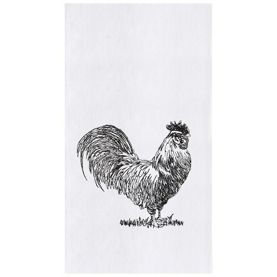 C&F Home Barnyard Rooster Flour Sack Embroidered Cotton Kitchen Towel