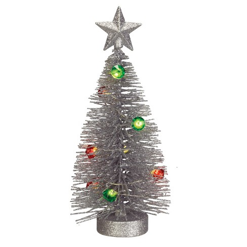 philips christmas battery operated led 675 silver glitter wire tree - Battery Operated Christmas Tree