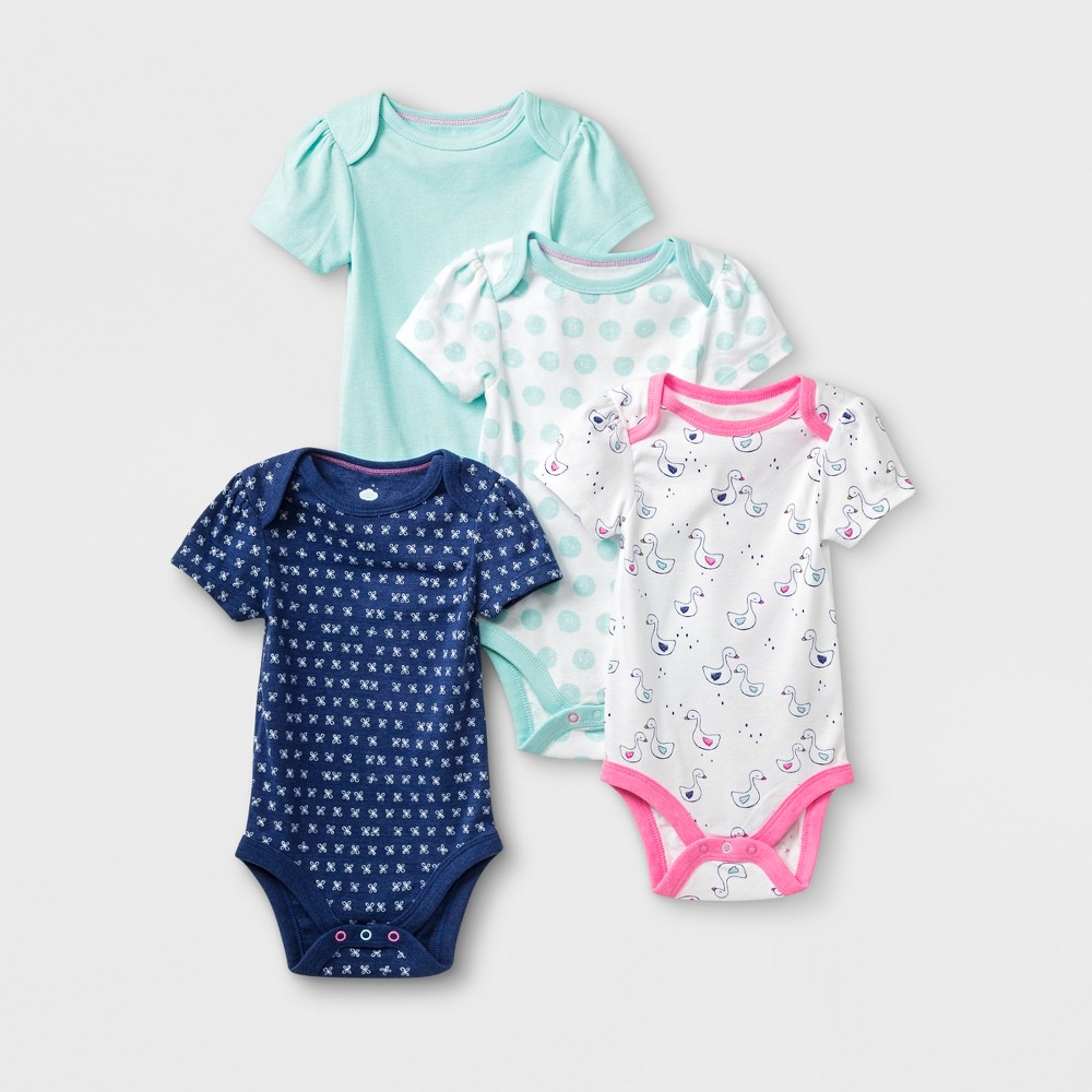 Baby Girls' 4pk Short Sleeve Bodysuit - Cloud Island Blue/White 18M