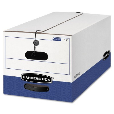 Bankers Box LIBERTY Heavy-Duty Strength Storage Box Letter 12 x 24 x 10 White/Blue 4/CT 0001103