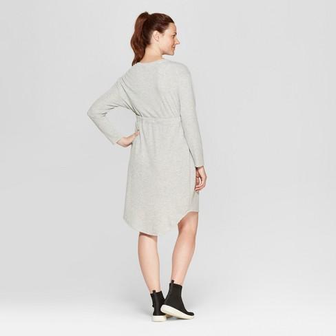 7489a1fbeaf Maternity Tie Waist Sweatshirt Dress - Isabel Maternity By Ingrid   Isabel™  Light Heather Gray   Target