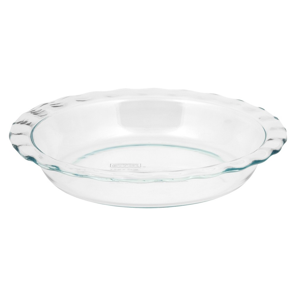 """Image of """"Pyrex Grip Rite 9.5"""""""" Glass Pie Pan, Clear"""""""