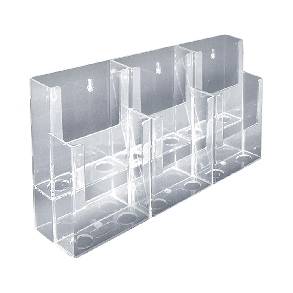Azar Two-Tier Six-Pocket Trifold Brochure Holder 2ct, Clear