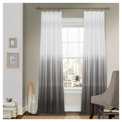 """84""""x52"""" Arashi Ombre Embroidery Light Filtering Curtain Panel Gray - Vue"""