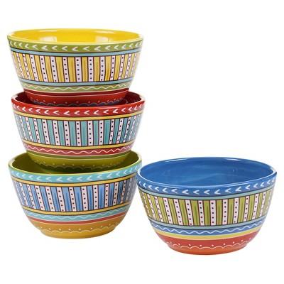 Certified International Valencia Glazed Ceramic Ice Cream Bowls (22oz) - Set of 4