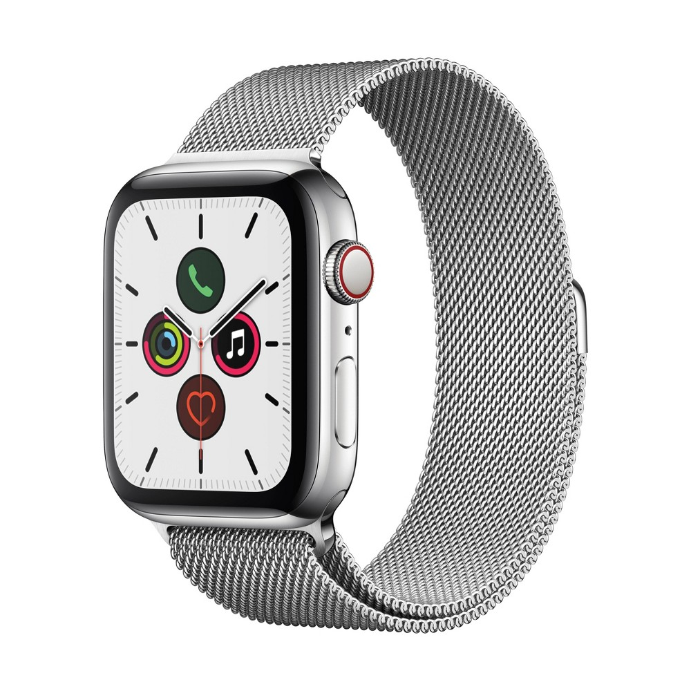 Apple Watch Series 5 GPS + Cellular, 44mm Stainless Steel Case with Stainless Steel Milanese Loop, Silver