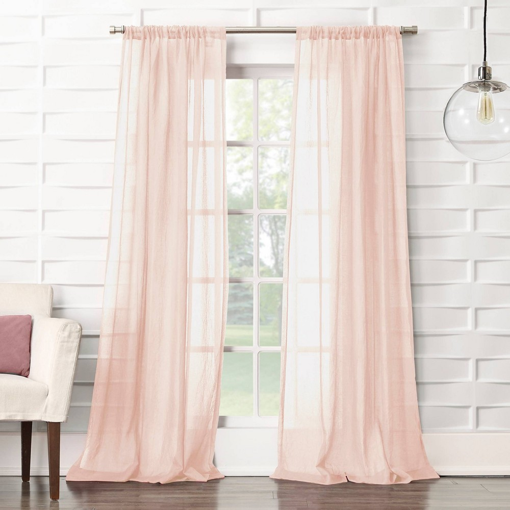 "Image of ""50""""x63"""" Avril Crushed Texture Rod Pocket Semi-Sheer Curtain Panel Blush - No. 918, Size: 50""""x63"""""""