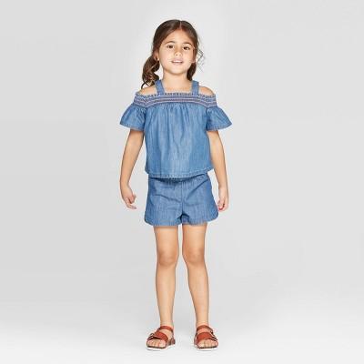 Toddler Girls' Ruffle Short Sleeve Denim Top & Bottom Set - Cat & Jack™ 12M