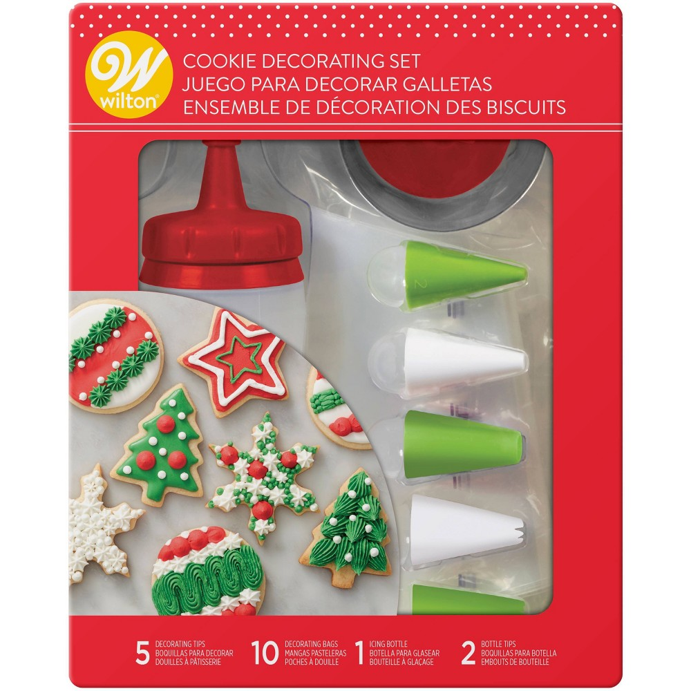 Image of Wilton Cookie Decorating Set, Red White Green