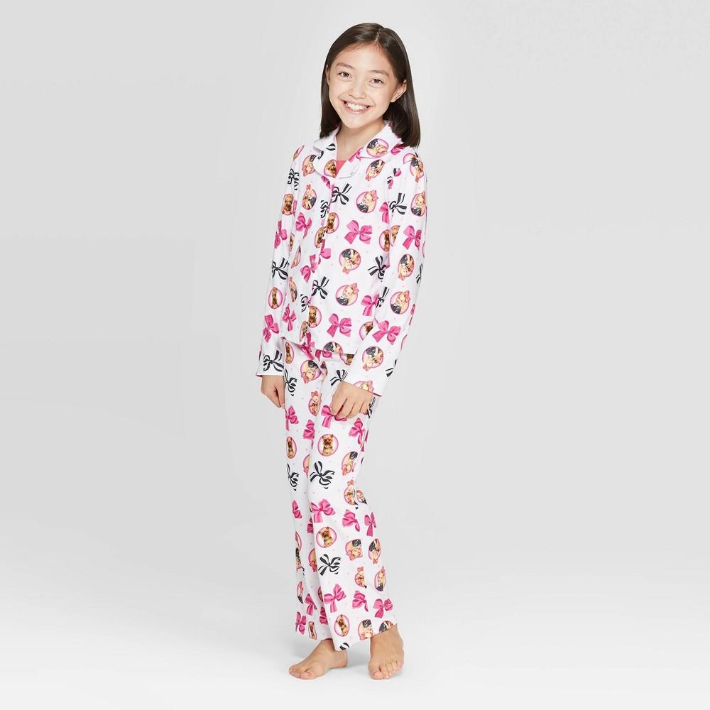 Image of Girls' JoJo Siwa 2pc Coat Pajama Set - White 10, Girl's